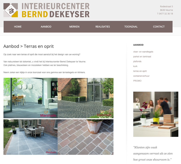 Website voor Interieurcenter Bernd Dekeyser te Veurne